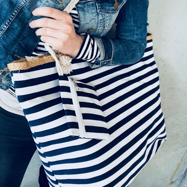 Strandtaske bolche strib<br>med pung